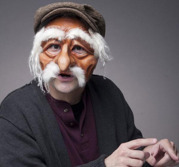 David Tyson Performance Artist in Old Man Mask